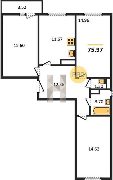 3-комнатная квартира в ЖК Пригород лесное