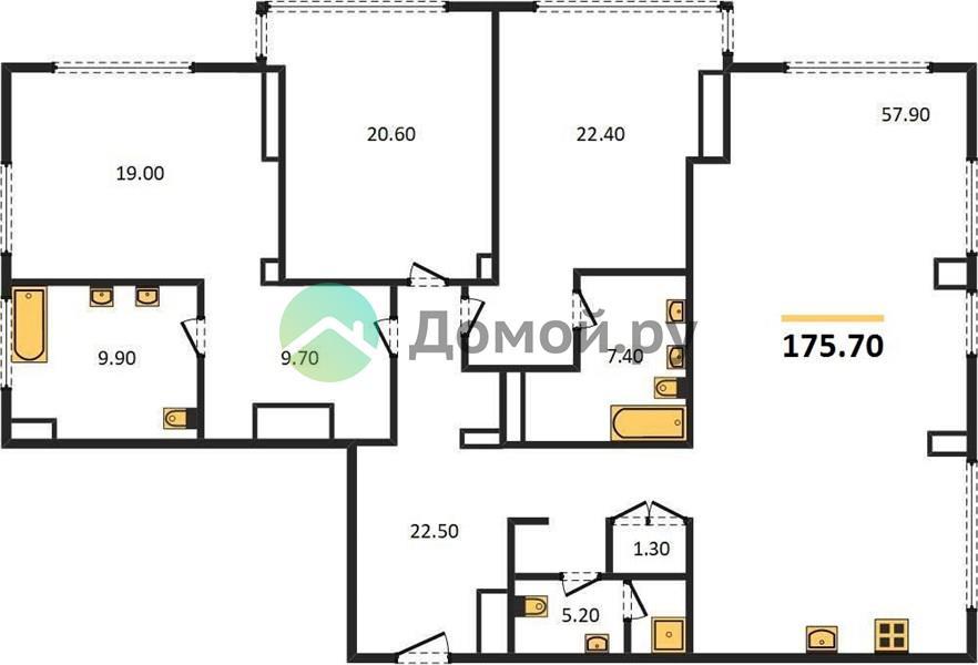 3-комнатная квартира в ЖК Поклонная 9