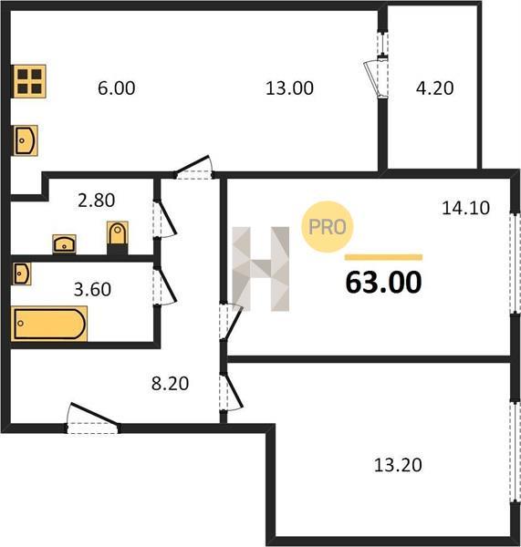 2-комнатная квартира в ЖК Изумрудные холмы