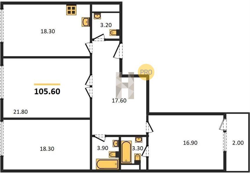 3-комнатная квартира в ЖК Серебряный парк