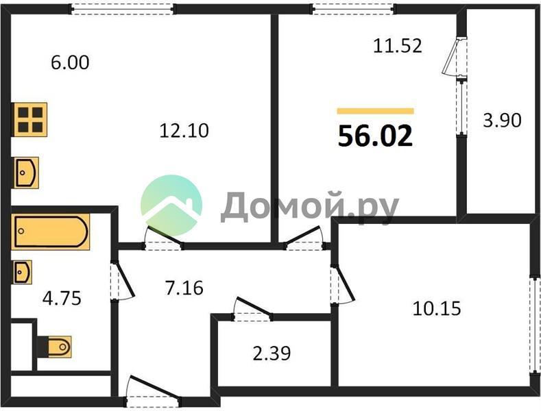 2-комнатная квартира в ЖК Лесопарковый